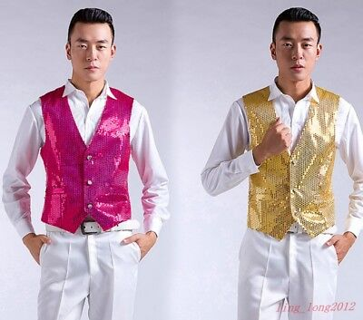 Mens Show Waistcoat coat Dance Party Slim Party Prom Wedding Jacket Sequin Vest