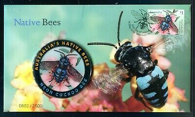 2019 Native Bees FDC With Neon Cuckoo Bee Coloured Medallion 0882/2500