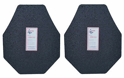 Level III AR500 Steel Body Armor Pair 10x12 Modified Curved - Full Frag Coated