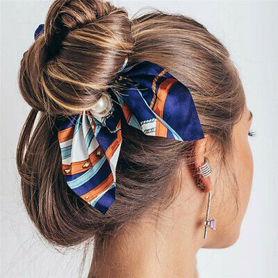 Pearl Charm Women Bow Knot Elastic Hair Band Hair Rope Scrunchie Ponytail Holder