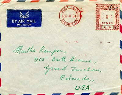 Mauritius 100c Meter 1964 Port Louis, Mauritius Airmail to Grand Junction, Colo.