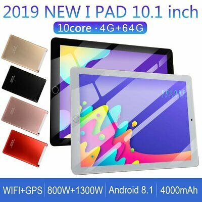 "10.1"" Android 8.1 Tablet PC 4+64GB SIM Camera WIFI Bluetooth HD Touch Screen wH"