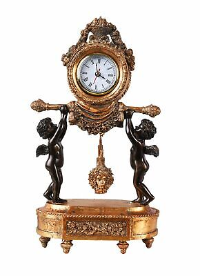 Table Clock Empire Mantel Medusa Pendulum Watch Two Angel in Antique Style Deco
