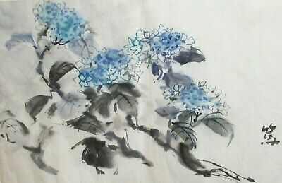 Japanese Blue Blossoms Original Watercolor On Paper Painting