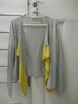 Trenery Country Road  Grey Yellow Linen Ramie Silk Boxy Cardigan Ex Cond M L