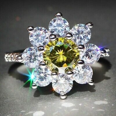 Jewelry Chic Silver Plated Flower 6-10 Women Ring Engagement Wedding