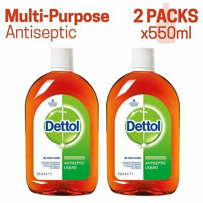 Dettol Antiseptic Disinfectant liquid fr First aid Surface Cleaning 550ML 2 PACK