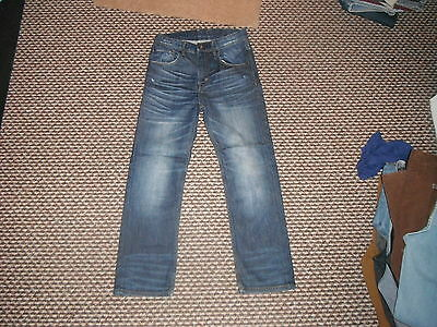 "& And Straight Jeans Waist 28"" Leg 25"" Faded Dark Blue Boys 10/11 Yrs Jeans"