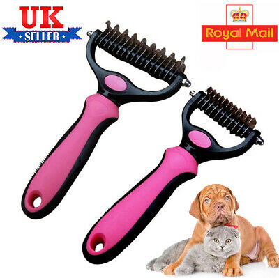UK Pet Cat Dog Groomer Brush Fur Knot Cutter Hair Remover Rake Comb Tool Cleaner