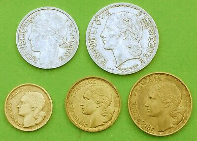 FRANCE Republic:- 5 different post WW2, inflation period, coins. AP7593