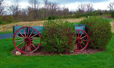 Old Antique Vintage Primitive 1800's Wooden Wagon w/ Wheels NO RESERVE Need Gone