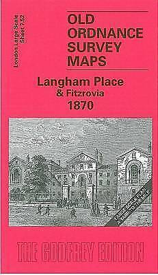 OLD ORDNANCE SURVEY MAP Langham Place & Fitzrovia 1870 London Large Scale 07.52