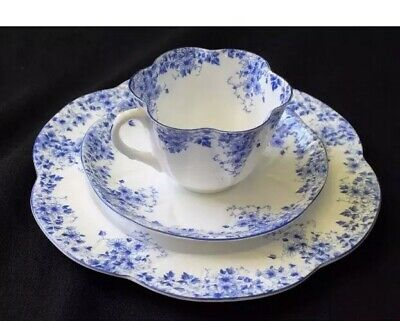 Vintage Shelley Fine Bone China Dainty Blue Cup Saucer & Bread & Butter Plate
