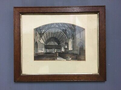 Antique 19th Century Victorian Architectural Painting In Oak Frame