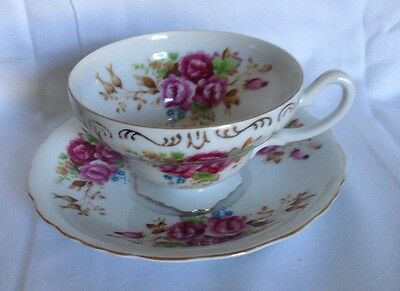 E W Princess China HANDPAINTED Footed Cup & Saucer Occupied Japan Roses Red Pink