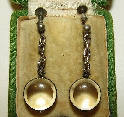 Superb, Victorian, Sterling Silver Rock Crystal/Undrilled Pool Of Light Earrings