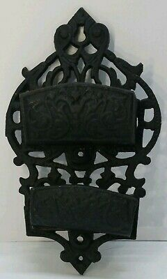Antique Vtg Ornate Cast Iron Double Pocket Wall Match Safe Holder Victorian Rare