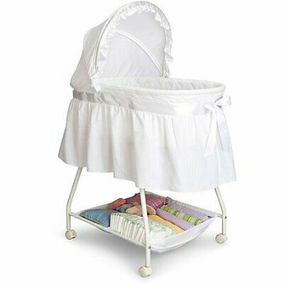 Classic Baby Bassinet White Infant Newborn Cradle Crib Basket Portable Nursery