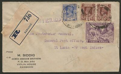 Burma 1941 KGVI 3a, 1a x2, 6p Used Registered Cover to St Lucia
