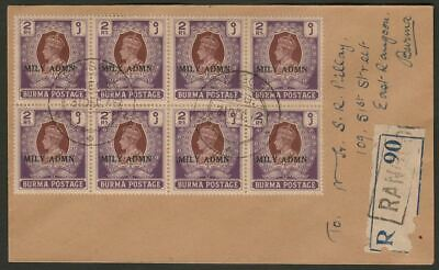 Burma 1945 KGVI MILY ADMIN 2r Block of 8 Used on Registered Rangoon Cover SG48