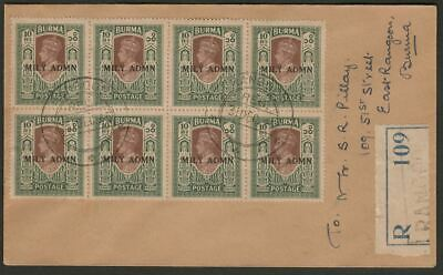Burma 1945 KGVI MILY ADMIN 10r Block of 8 Used on Registered Rangoon Cover SG50