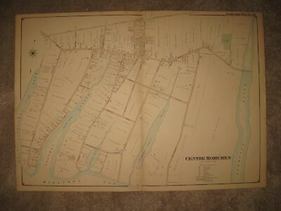 Huge Gorgeous Antique 1902 Centre Moriches Long Island New York Handcolored Map