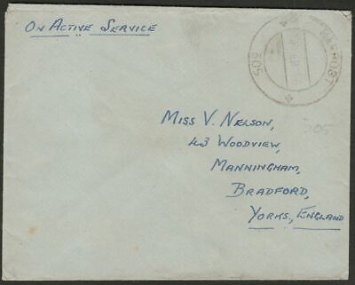 RAF Post 1946 PO No 305 Unstamped Active Service Cover Rangoon, Burma to UK