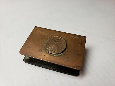 Vintage Arts And Crafts Era Copper Match Holder With Ancient Coin