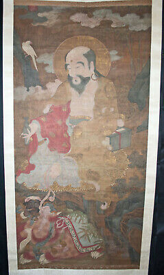 Antique Chinese Wall Hanging Scroll Painting Watercolor - Immortals + Lion 19thC