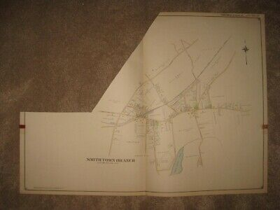 Huge Superb Antique 1909 Smithtown Branch Long Island New York Handcolored Map