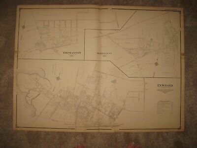 Huge Gorgeous Antique 1906 Manhasset Inwood Thomaston New York Handcolored Map