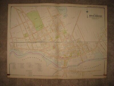 Huge Gorgeous Antique 1909 Riverhead Southampton New York Handcolored Map Superb
