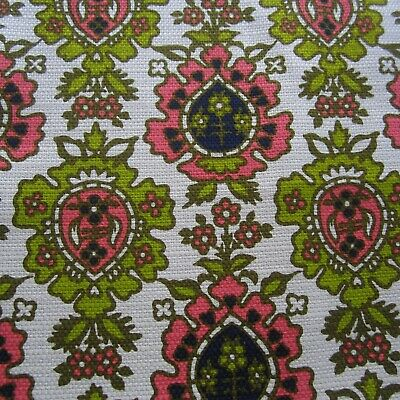 49cm x 91cm Olive Green Pink Ogee Vintage Cotton Sewing Dress Fabric 1960s Retro
