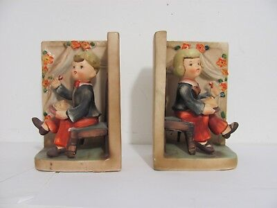 Pair of Vintage ESD Lefton  Japan Hummel Style Ceramic Bookends
