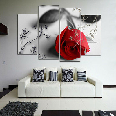 Red Rose Flower Oil Painting Print Canvas Picture Home Bedroom Wall Art Decor AU