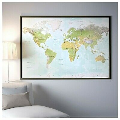 IKEA MAP PREMIAR Large World Map Picture Atlas on Canvas 78