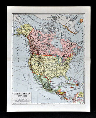 1900 Meyer Map North America United States Canada Mexico Alaska Cuba