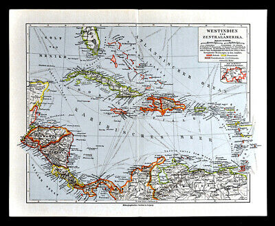 1900 Meyers Map West Indies Central America Cuba Jamaica Bahamas Caribbean Sea