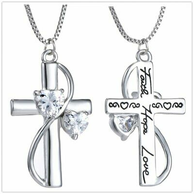 Faith Hope Love Heart Crystal Letter Women Long Pendant Necklace Sweater Jewelry