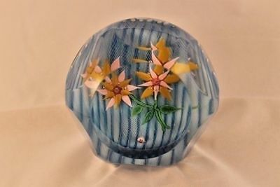 Baccarat  Paperweight 1970 Clematis flowers figurine w/ box France Glass Crystal
