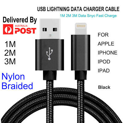 1M 2M 3M USB Lightning Cable Cord Data for Apple Charger iPhone iPad iPod Air