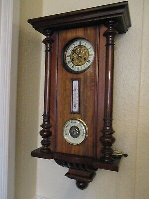 Antique Wooden Wall Clock & Barometer for spares or repair.