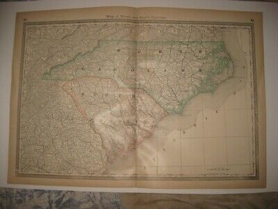Superb Antique 1883 North South Carolina Map Charleston Outer Banks Railroad Nr