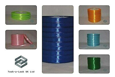Satin Ribbon Reels 6Mm Width Single Sided Premium Quality 25 Metres 12 Colours