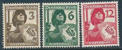 Stamp Germany Mi 643-5 Sc 481-3 1937 3rd Reich Air Raid Protect Soldier RLB MNH