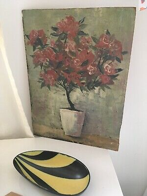 Vintage Oil On Board Stylised Textural Floral Oil Painting