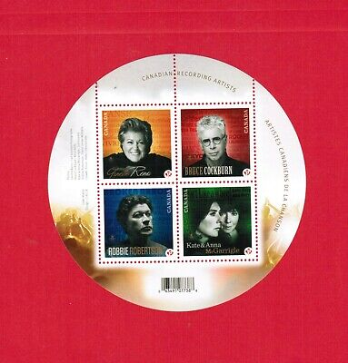 2011  CANADA STAMPS  SOUVENIR SHEET( Mn)  # 2482b   CANADIAN RECORDING  ARTISTS
