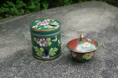 Chinese Cloisonne Enamel Tea Caddy Box and Cup with Lid