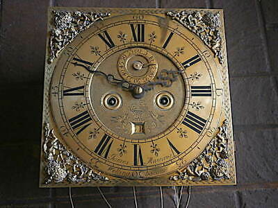 C1730  8 day LONGCASE GRANDFATHER CLOCK DIAL+movement 12X 12  JAMES MANING WELLI