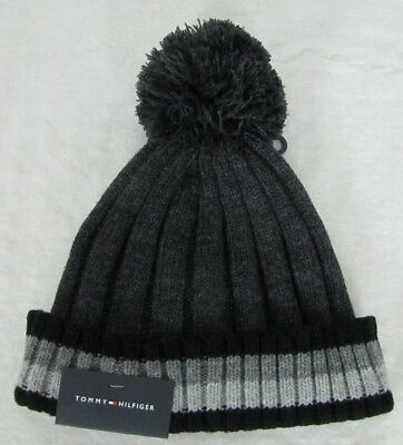 31e31873b $42 TOMMY HILFIGER Hat Beanie One Size Navy Blue with Gray Stripe ...
